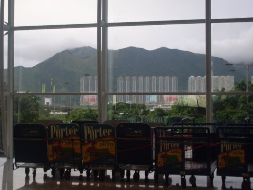 the view from baggage collection in HK airport