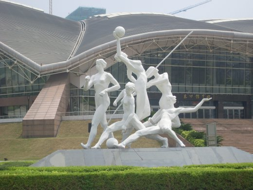 close up on the statue! I think one is javelin, power walking, basktball, punching the ground? and matrix move.