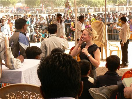 Sarah coming third in the ladies musical chairs at the Pushkar camel fair - the grandchildren will be proud!