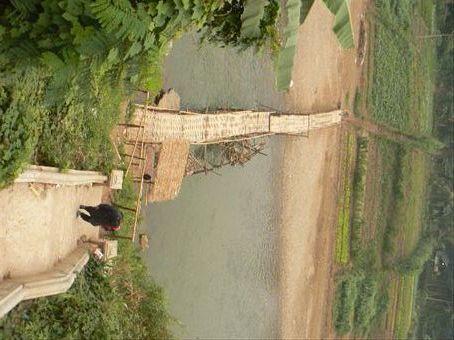 a rickety bridge in Luang Prabang