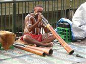 Didgeridooist Didgeridooing in Sydney harbour: by sarahandphil, Views[257]
