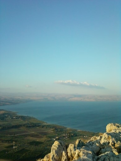 View of the Sea of Galilee from the top of Mount Arbel
