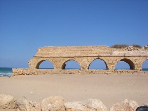 A Roman aqueduct on the beach