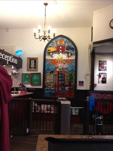 Common area of the Flying Pig Hostel