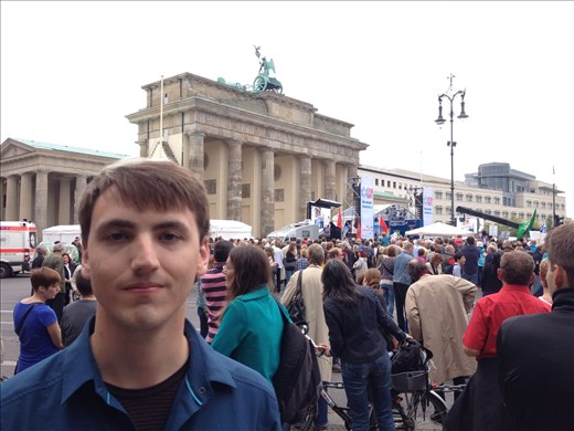In front of the Brandenburg Gate where the Chancellor spoke a few  minutes later