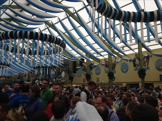 Inside one of the beer tents