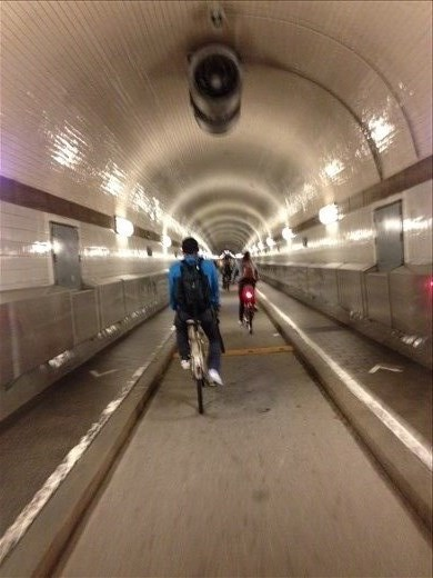 Biking through the Elbe Tunnel