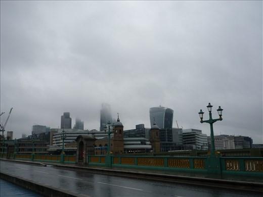 My rainy morning view from Southwark Bridge