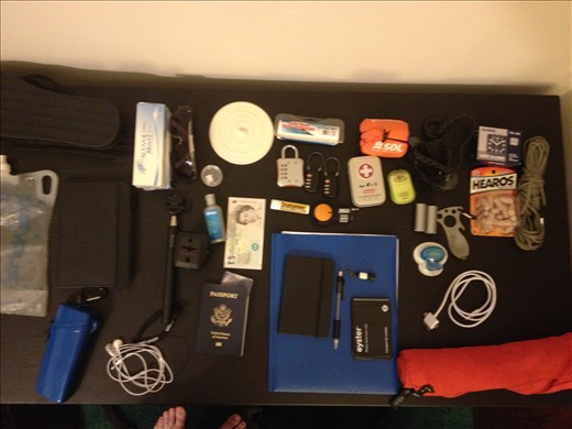 The items I am fitting in my pack (Excluding clothes)