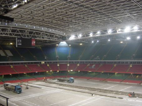 Inside the Millenium Stadium.  They were re-laying the grass.