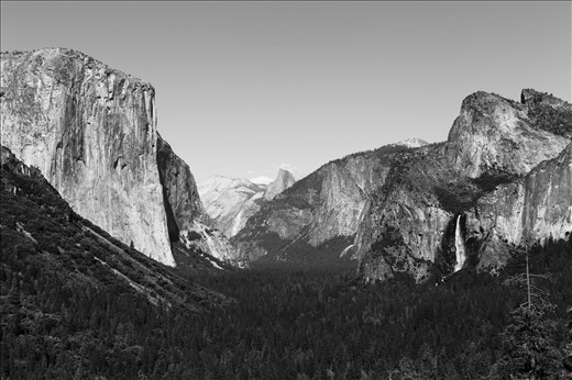 PINE VALLEY: Granite monoliths (including El Capitan and the iconic Half Dome in the distance) stand tall over the valley of pine trees, amongst other species that make up Yosemite Valley. The history in this valley is amazing. From the formation caused by the glacial period, to the Ahwahneechee stories of the mountains and Bridalveil Falls.