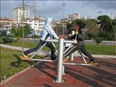 kate sharing some public exercise equipment with a turkish senior: by seanandkate, Views[533]