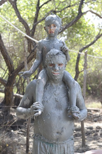 Out of the mud! People believe it's good for your skin and hair. Tried, true!