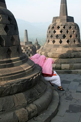 Stupa and schoolgirls, Borobudur Temple