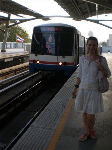 Kate catching the Bangkok monorail