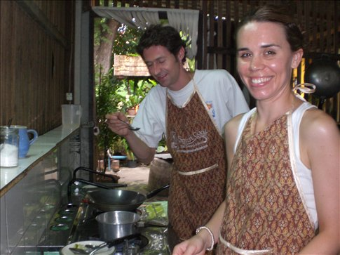Learning to make Thai Green Curry and Hot 'n' Sour soup at the Thai cookery class