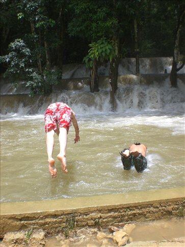 Taking the plunge - Bobby and our guide Manh