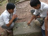 Cambodian chess game using leaves for chess pieces.: by seilerworldtour, Views[159]