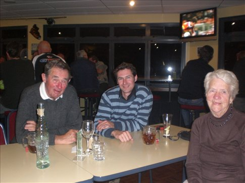 Bobby with Bill and Pam at the Whangamata Fishing Club