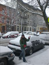 Messing around on the snow outside our apartment.: by seilerworldtour, Views[124]