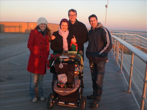 Walking the boardwalk with pat and Suzanne plus baby Emma Rose