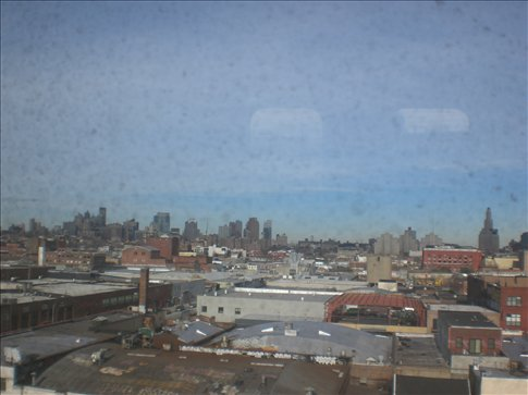 The view across Brooklyn from the subway into town.