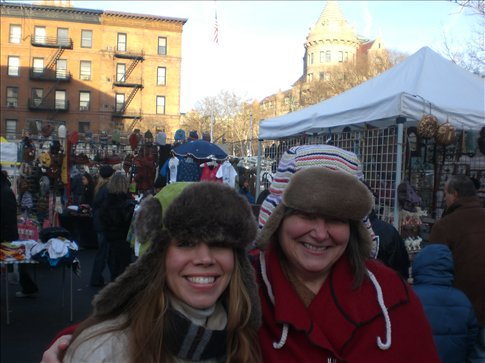 Kate and Louise model their funky headwear at the flea market on the Upper West side.