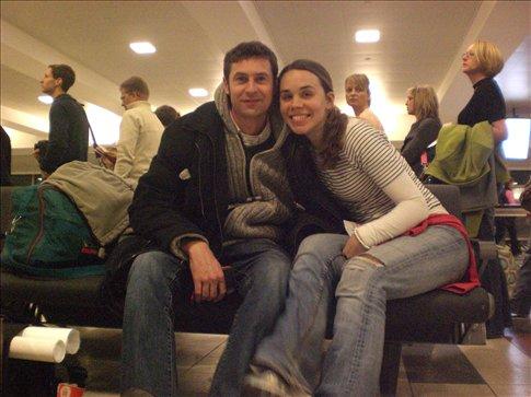 Bon Voyage. Saying good bye to America at JFK airport.