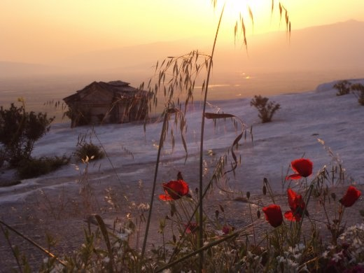 Gorgeous sunset colours in Pamukkale