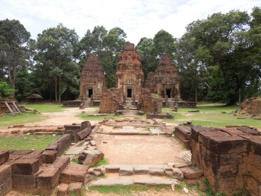 Preah Ko has 6 sandstone towers and was built in the 9th century