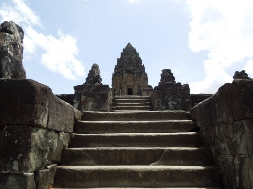 These staircases were STEEP - no handrails in Cambodia