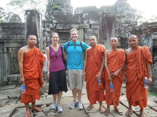 We ran into some friendly monks at Banteay Kdei who wanted to take pictures with us!