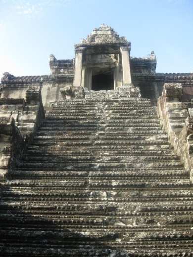 Angkor Wat symbolizes Mt. Meru in its construction-- and it's a very steep climb!