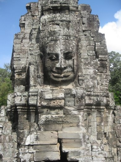 The faces supposedly resemble the king who had this temple built- not narcissistic at all!