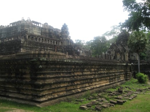 A shot of the rebuilt Baphuon temple wall-- extra stones still on the ground outside