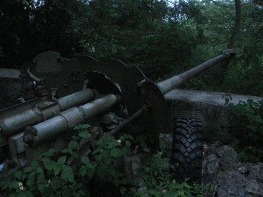 Huge guns left behind from the war