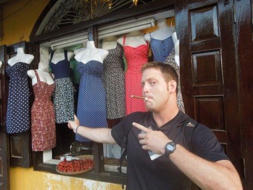 Joe helping me decide at a tailor shop