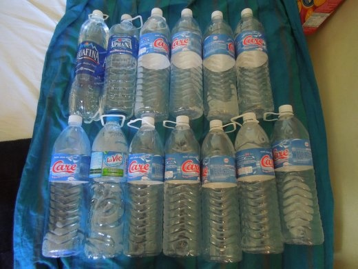 Just some of the waters Sarah drank while sick