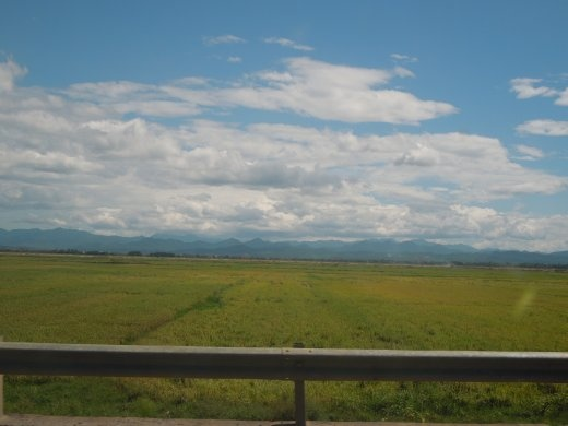 Vietnamese Countryside with the mountains in view as we drive to Phong Nha