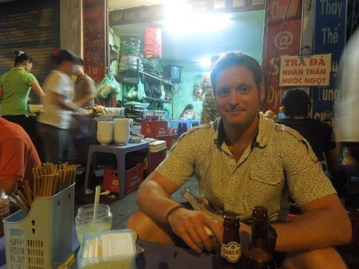 Enjoying Hanoi street food/beer