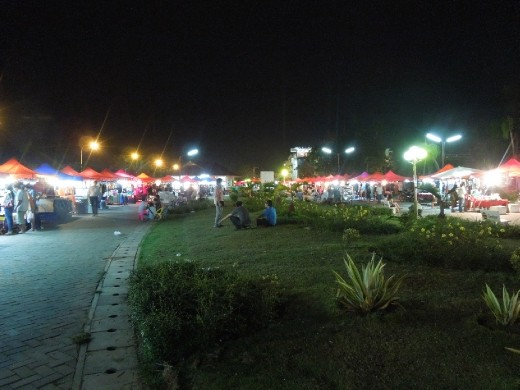 A night market along the river in Vientiane