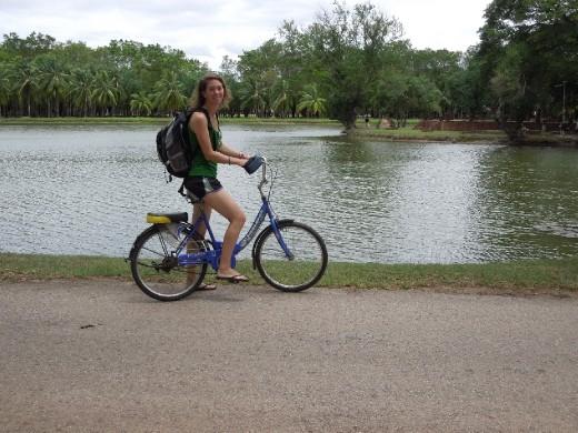 Biking around Sukothai Historical Park