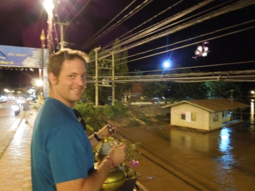 Joe decides to try his luck fishing again! This time off the middle of a bridge in New Sukothai (the modern town built up next to Old Sukothai where the historic park is). A fireworks show begins in the distance!