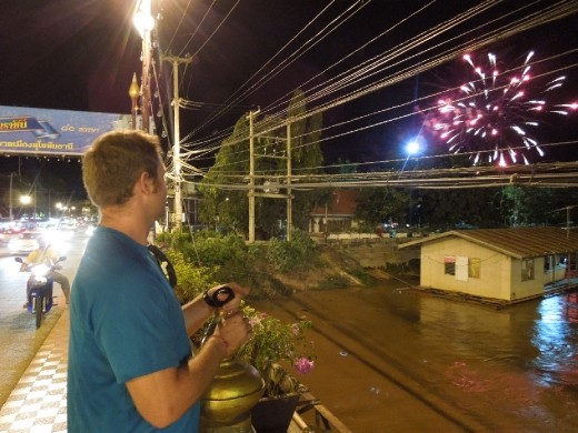 Fireworks being set off above Old Sukothai in honor of the Thai Queen's birthday!