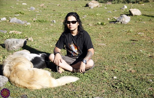 Me at kheerganga in company of local dogs at HP India