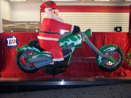 Santa riding a Harley