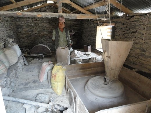 Inside flour mill.