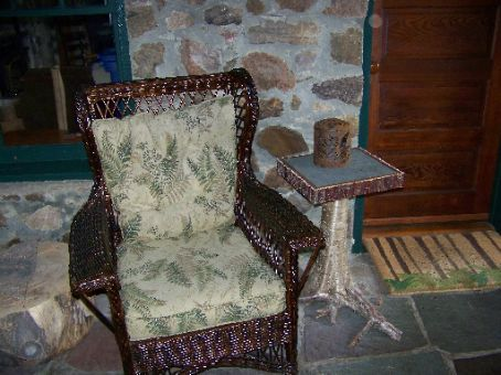 uncle sams chair on back porch
