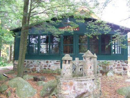 back porch with chipmunk castle