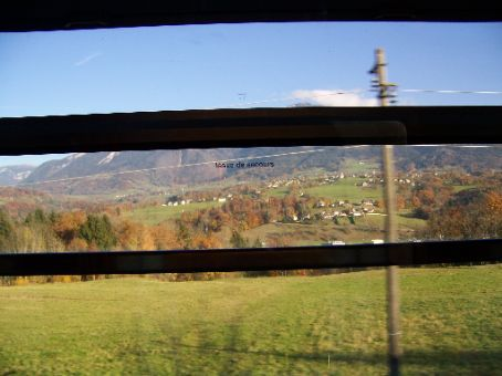 views ont he train on way to Chamonix and Mt Blanc
